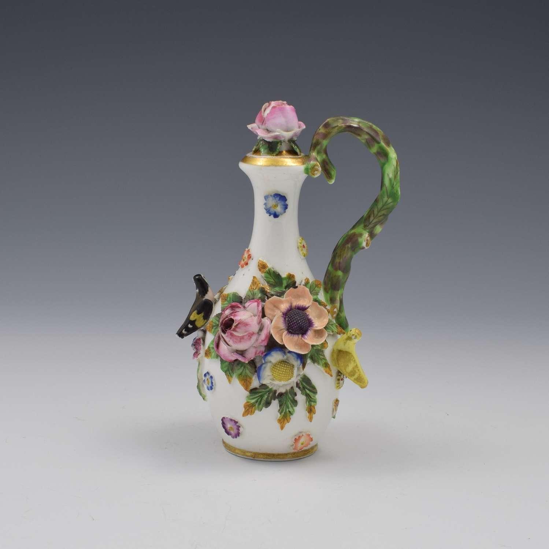 Spode Porcelain Bird & Flower Encrusted Scent / Perfume Bottle